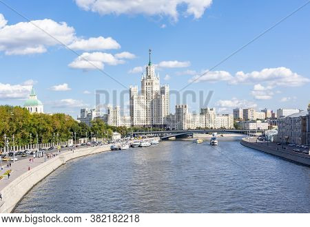 Kotelnicheskaya Embankment Building (one Of Seven Stalin Skyscrapers) And Moskva River, Moscow, Russ