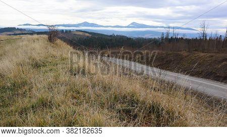 Colorful Autumn Landscape In The Carpathian Mountains With Mountain Peaks. Carpathians, Ukraine, Eur