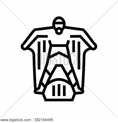 Wingsuit Sportsman Line Icon Vector. Wingsuit Sportsman Sign. Isolated Contour Symbol Black Illustra