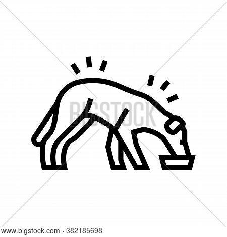 Dog Eating Food Line Icon Vector. Dog Eating Food Sign. Isolated Contour Symbol Black Illustration