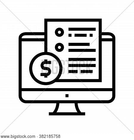 Electronic Agreement For Buy House Line Icon Vector. Electronic Agreement For Buy House Sign. Isolat