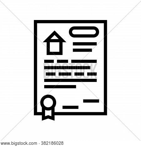 House Buy Agreement Line Icon Vector. House Buy Agreement Sign. Isolated Contour Symbol Black Illust