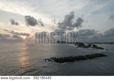 The Sunset View With Paradise Island Lighthouse And Nassau Harbour (bahamas).