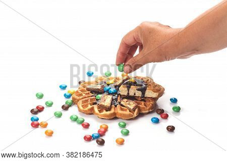 Girl Served Waffles With Blueberry Jam, Breakfast With Coffee. White Background, Top View, Close Up