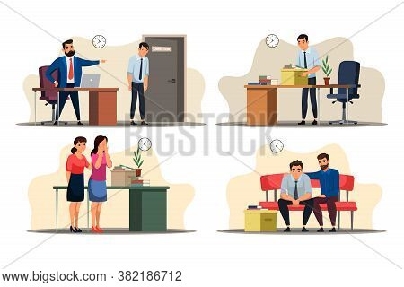 Unemployment Concept. Office Scenes: Boss Dismisses Employee, Sad Man Collects Personal Belongings I