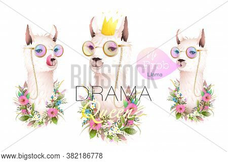 Llama No Drama Designer Collection For T Shirts, Greeting Cards And Other Projects. Realistic Vector