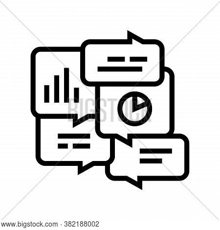 Office Tasks Discussing Line Icon Vector. Office Tasks Discussing Sign. Isolated Contour Symbol Blac