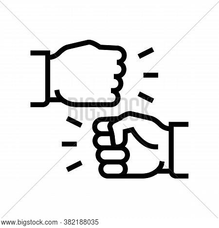 Hand Dispute Line Icon Vector. Hand Dispute Sign. Isolated Contour Symbol Black Illustration