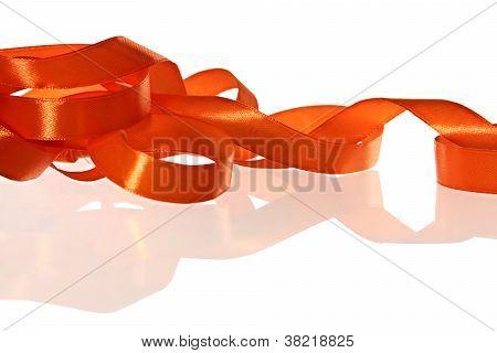 Orange Ribbon On The White Background
