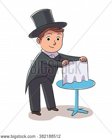 Boy Illusionist Vector Character Shows Tricks Or Focus. Little Magician Performs. Happy Childhood, H