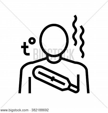 Body High Temperature Line Icon Vector. Body High Temperature Sign. Isolated Contour Symbol Black Il
