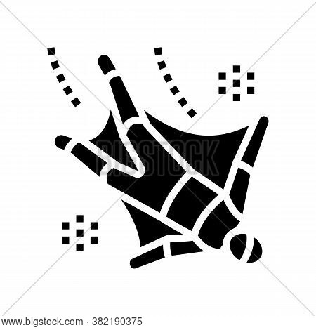 Wingsuit Fly Extremal Man Glyph Icon Vector. Wingsuit Fly Extremal Man Sign. Isolated Contour Symbol