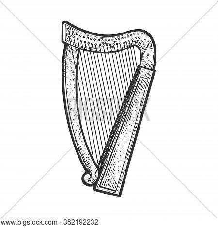Harp Stringed Musical Instrument Sketch Engraving Vector Illustration. T-shirt Apparel Print Design.