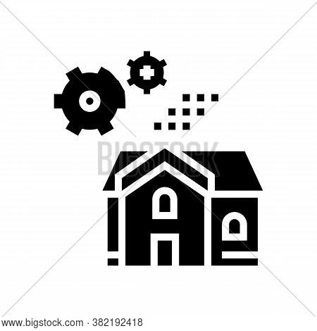 House Mechanical Gears Glyph Icon Vector. House Mechanical Gears Sign. Isolated Contour Symbol Black