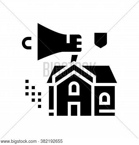 House Selling Loudspeaker Glyph Icon Vector. House Selling Loudspeaker Sign. Isolated Contour Symbol