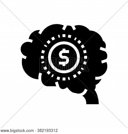 Brain Think About Finance Glyph Icon Vector. Brain Think About Finance Sign. Isolated Contour Symbol