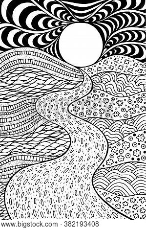 Psychedelic Landscape. Coloring Page For Adults. Pathway In Meadows And Waves. Seaside Illustration.