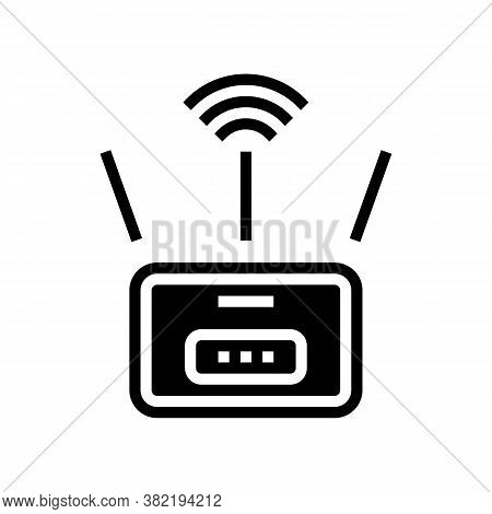 Wifi Router Glyph Icon Vector. Wifi Router Sign. Isolated Contour Symbol Black Illustration