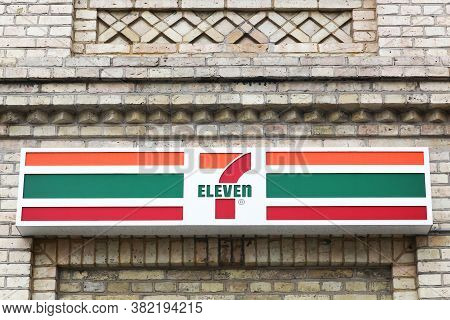 Hjorring, Denmark - June 28, 2015: 7 Eleven Logo On A Facade. 7-eleven Is An International Chain Of