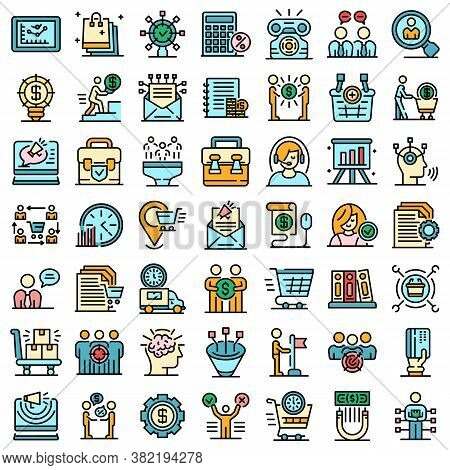 Purchasing Manager Icons Set. Outline Set Of Purchasing Manager Vector Icons Thin Line Color Flat On