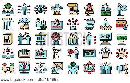 Affiliate Marketing Icons Set. Outline Set Of Affiliate Marketing Vector Icons Thin Line Color Flat