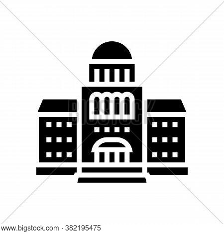 Courthouse Building Glyph Icon Vector. Courthouse Building Sign. Isolated Contour Symbol Black Illus