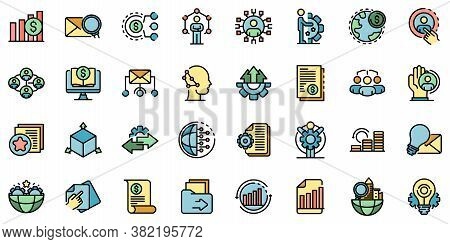 Restructuring Icons Set. Outline Set Of Restructuring Vector Icons Thin Line Color Flat On White
