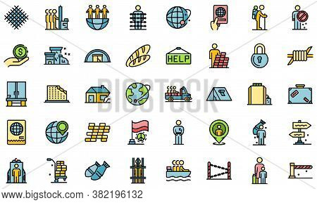 Illegal Immigrants Icons Set. Outline Set Of Illegal Immigrants Vector Icons Thin Line Color Flat On