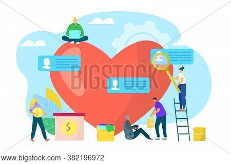 Social Charity Support Near Huge Heart, Care About People Vector Illustration. Volunteer Help By Don