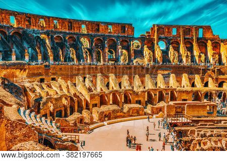 Rome, Italy - May 08, 2017 : Tourist's Inside The Amphitheater Of Coliseum In Rome- One Of Wonders O