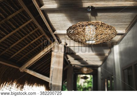 Contemporary Wooden And Eco-friendly Furniture. Handmade Wicker Rattan Chandelier. Home Interior Dec