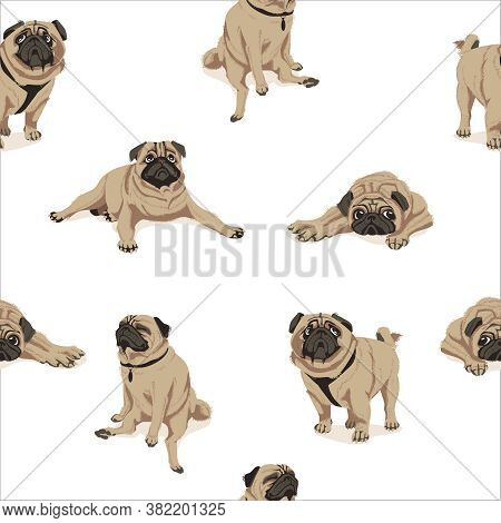 Funny Pug Dog Seamless Pattern. Cute Fawn Chubby Pet Animal In In Different Poses Endless Repeating