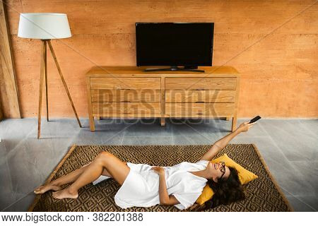 Entertainment At Home, Tv Addiction. Stay Home. Smiling Happy Woman Laughing And Watching Comedy Tv-