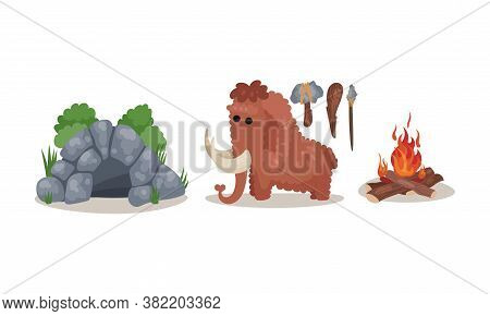 Stone Age Primitive Tools And Cave Vector Set