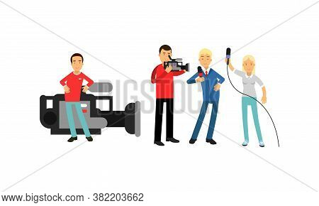 Professional Cameraman And Journalist Or News Reporter From Tv Broadcast As News Program Crew Vector