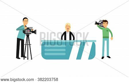 Woman Character As Journalist Or News Reporter From Studio Tv Broadcast And Cameraman Vector Illustr