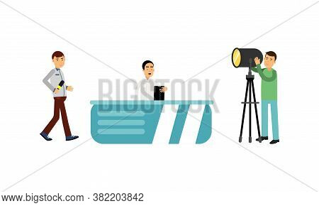 Man Character As Journalist Or News Reporter From Studio Tv Broadcast And Cameraman Vector Illustrat