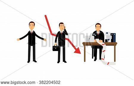 Young Businessman Depressed Because Of Economic Downfall And Regression Vector Illustration Set