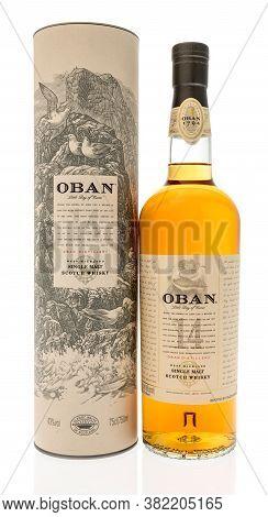 Winneconne , Wi - 20 August 2020:  A Bottle Of Oban Single 14 Year Old Malt Scotch Whisky On An Isol