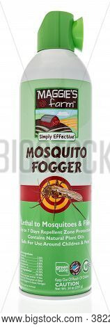 Winneconne , Wi - 16 August 2020:  A Can Of Maggies Farm Mosquito Fogger On An Isolated Background.
