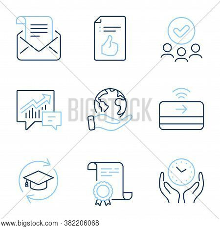 Approved Document, Safe Time And Contactless Payment Line Icons Set. Diploma Certificate, Save Plane