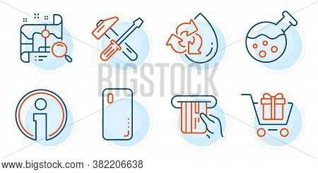 Smartphone Cover, Hammer Tool And Credit Card Signs. Recycle Water, Search Map And Shopping Cart Lin