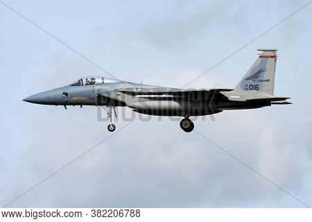 Leeuwarden / Netherlands - April 13, 2015: United States Air Force Usaf Mcdonnell Douglas F-15c Eagl