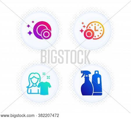 Clean Dishes, Clean Shirt And Dishwasher Timer Icons Simple Set. Button With Halftone Dots. Shampoo