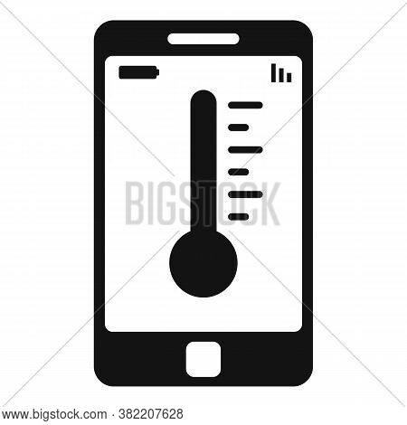 Smartphone Temperature Control Icon. Simple Illustration Of Smartphone Temperature Control Vector Ic