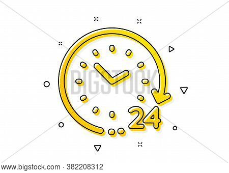 Clock Sign. 24 Hours Time Icon. Watch Symbol. Yellow Circles Pattern. Classic 24 Hours Icon. Geometr