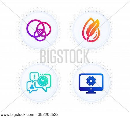 Euler Diagram, Hypoallergenic Tested And Time Management Icons Simple Set. Button With Halftone Dots