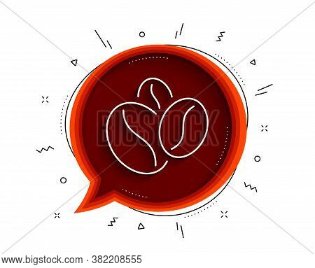 Coffee Beans Line Icon. Chat Bubble With Shadow. Hot Cappuccino Seed Sign. Roasted Seeds Symbol. Thi
