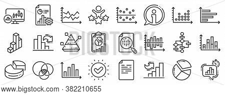 Report, 3d Chart, Block Diagram And Dot Plot Graph Linear Icons. Charts And Diagrams Line Icons. Tre