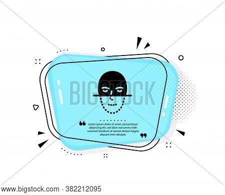 Face Recognition Icon. Quote Speech Bubble. Faces Biometrics Sign. Head Scanning Symbol. Quotation M